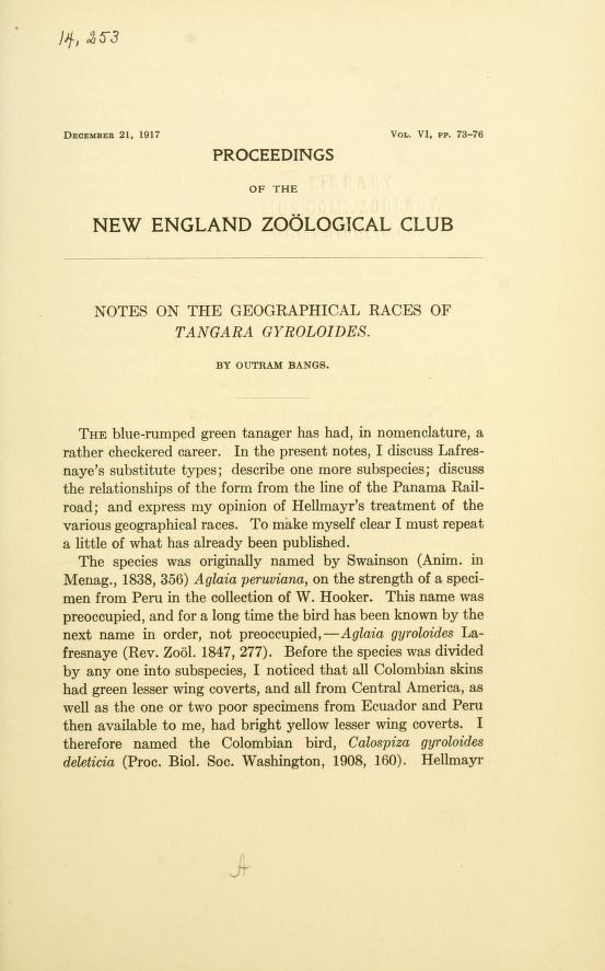Notes on the Geographical Races of Tangara gyroloides