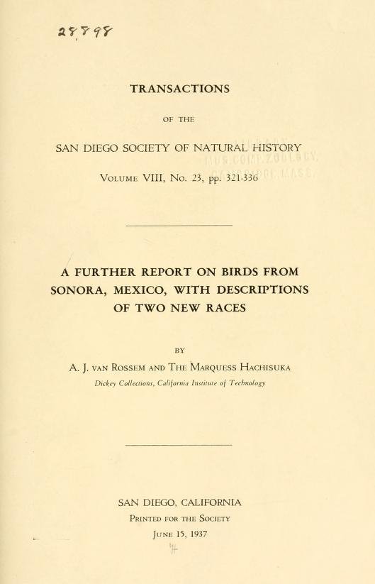 A Further Report on Birds from Sonora, Mexico, with Descriptions of Two New Races