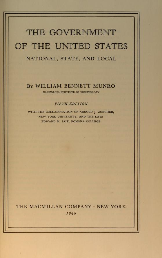 The government of the United States by William Henry Bennett